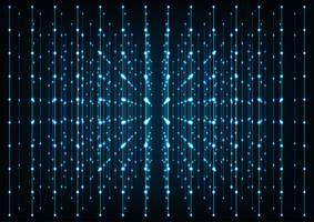 Connessioni blu incandescente nello spazio con particelle. Concetto di rete, comunicazione internet, dati.