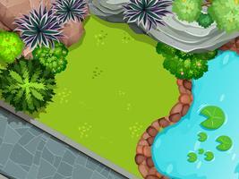 Una veduta aerea del giardino vettore