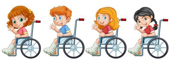 Set di bambini su sedia a rotelle