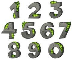Font design per numeri con roccia e foglie vettore