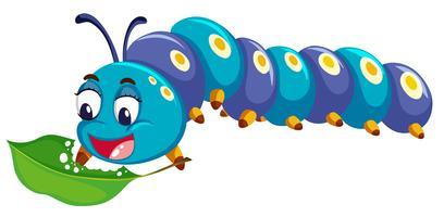 Catepillar blu che mangia foglia verde