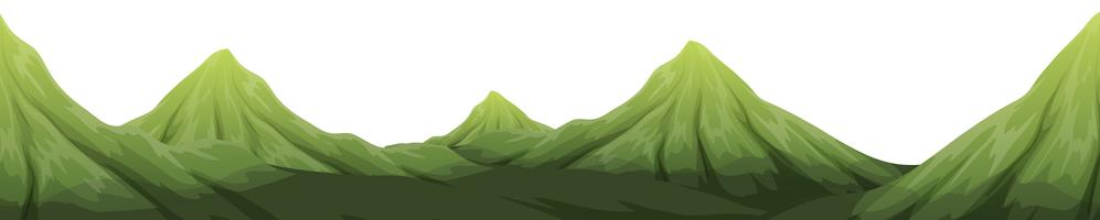 Un paesaggio di montagna verde vettore