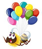 Ape che vola con molti palloncini vettore