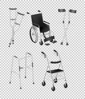 Diversi tipi di attrezzature per disabili