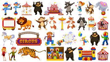 Set di animali da circo vettore