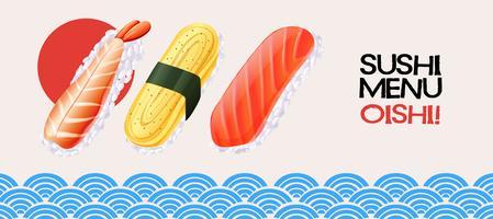 Rotolo di sushi su sfondo stile giapponese vettore