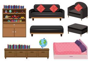 Una serie di elementi per la camera da letto