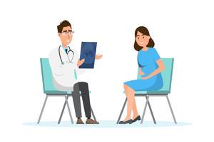 Medico che mostra lo strato di ultrasuono alla donna incinta all'ospedale vettore