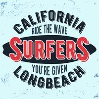 Bollo d'annata dei surfisti della California vettore