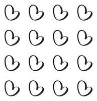 Modello di vettore senza soluzione di continuità con cuori calligrafici. Ornamento per San Valentino. Illustrazione disegnata a mano Pennellate isolate