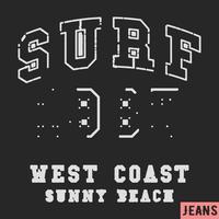 surf vintage stamp vettore