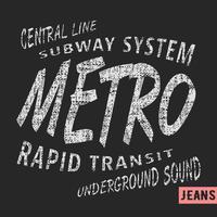 timbro vintage della metropolitana vettore