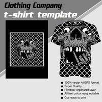 Modello di t-shirt, completamente modificabile con il vettore di teschio di metallo