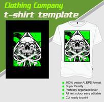 Modello di t-shirt, completamente modificabile con il vettore del cranio
