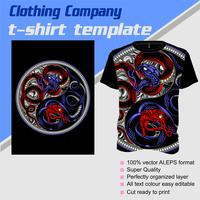 Modello di t-shirt, completamente modificabile con il vettore di serpente