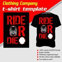 Modello di t-shirt, completamente modificabile con testo ride o muore vettoriale