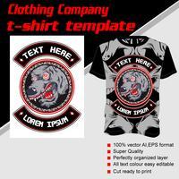 Modello di t-shirt, completamente modificabile con il vettore di lupo