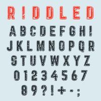 Carattere alfabeto Riddled. Lettere, numeri e disegno del grunge del segno di punteggiatura