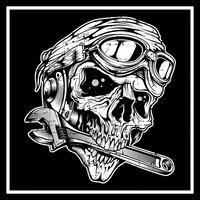 teschio in stile grunge vintage il cranio morde la chiave inglese vettore