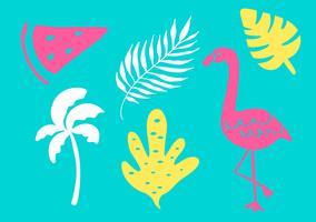 Collezione tropicale per la spiaggia estiva esotica di foglie, alberi, fenicotteri e frutta. Elementi di design vettoriale isolati su sfondo bianco
