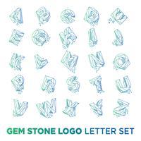elemento di modello di vettore di icona di disegno della lettera di az di lettera della pietra preziosa isolato