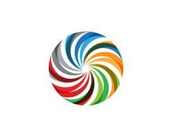 Icone del modello di logo e simboli del cerchio di vortice arcobaleno vettore