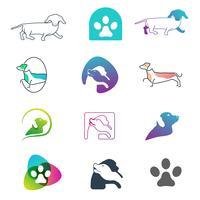 Elemento dell'icona di vettore di concetto di progetto della linea di logo del cane isolato