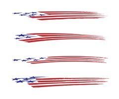 Insieme dell'illustrazione di vettore del grafico del veicolo della bandiera dell'America