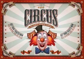 Poster vintage del circo con testa di pagliaccio