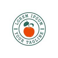 Modello di concetto di progettazione di logo di timbro di frutta arancione vettore