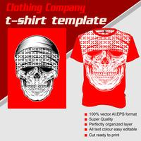 Modello di t-shirt, completamente modificabile con il vettore del cranio del cranio