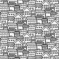 Modello disegnato a mano con sfondo di città. Illustrazione vettoriale