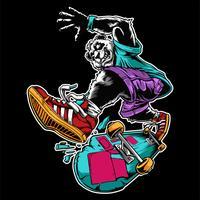 panda cavalca su un vettore di disegno a mano skateboard