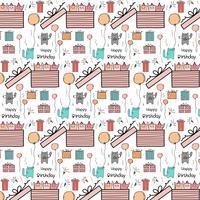 Pattern Background Happy Birthday concept Con Cute Cat In The Big Confezione regalo. vettore
