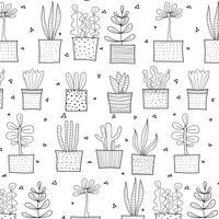 Modello di cactus tropicale disegnato a mano. Illustrazione vettoriale. vettore