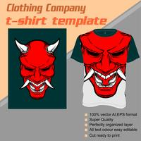 Modello di t-shirt, completamente modificabile con il vettore demoniaco