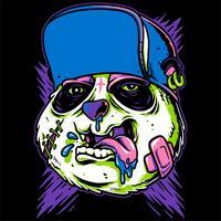vettore di disegno a mano panda pazzo