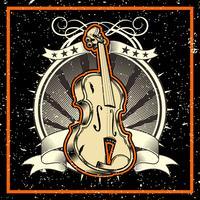 stile del grunge L'illustrazione classica di vettore del violino di concetto di musica - vettore