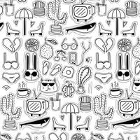 Modello con fondo adorabile di scarabocchio disegnato a mano di linea. Doodle divertente. Illustrazione vettoriale a mano.