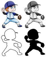 Set di atleti di baseball vettore