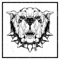 illustrazione vettoriale stile grunge Primo piano del bulldog furioso