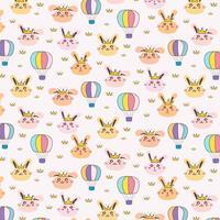 Princess Bunny Pattern Background For Kids. Illustrazione vettoriale