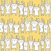 Fondo sveglio del modello di vettore del coniglietto. Doodle divertente. Illustrazione vettoriale a mano.
