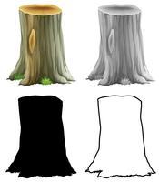 Set di ceppo di albero vettore