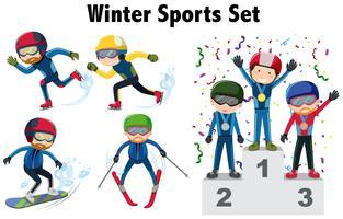 Diversi tipi di sport invernali vettore