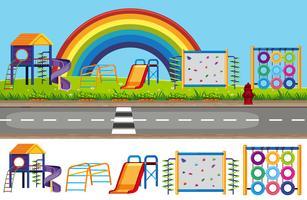 Fondo ed insieme di elementi del campo da giuoco dei bambini vettore