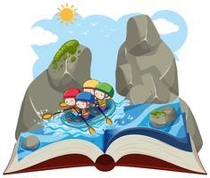 Persone che fanno rafting su un libro pop-up vettore