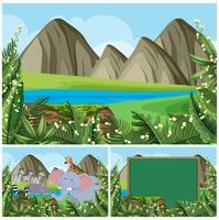 Scene di sfondo con montagne e animali
