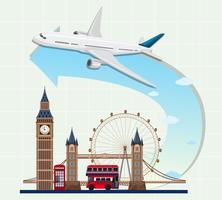 Punti di riferimento dell'Inghilterra con l'aeroplano vettore