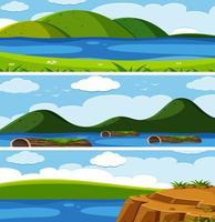 Insieme di paesaggi naturali vettore